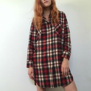 Maje flannel shirt dress with leather details